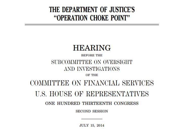 Operation Choke Point Investigation Hearing